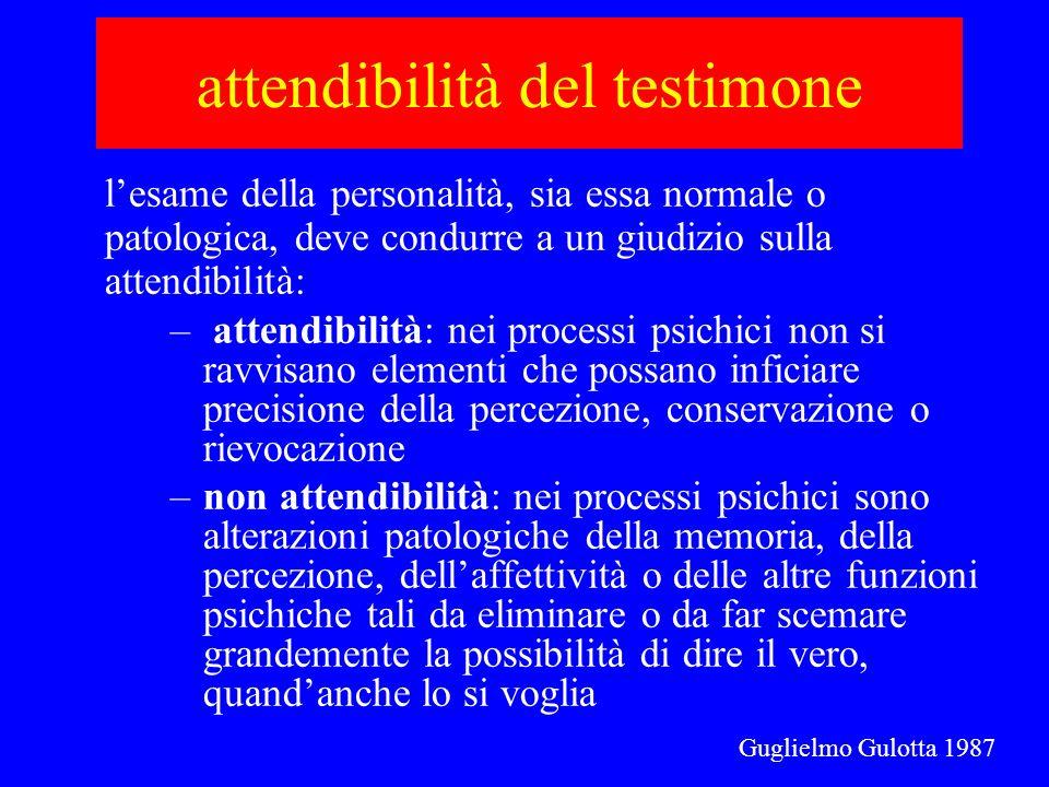 attendibilità del testimone lesame della personalità, sia essa normale o patologica, deve condurre a un giudizio sulla attendibilità: – attendibilità: