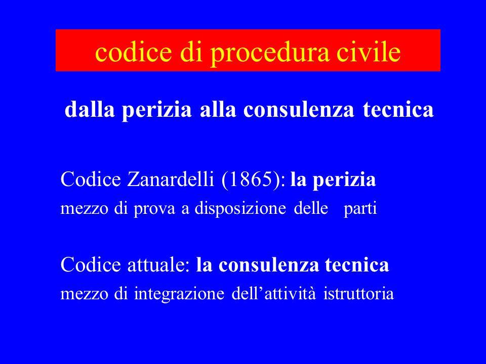 codice di procedura civile Codice Zanardelli (1865): la perizia mezzo di prova a disposizione delle parti Codice attuale: la consulenza tecnica mezzo