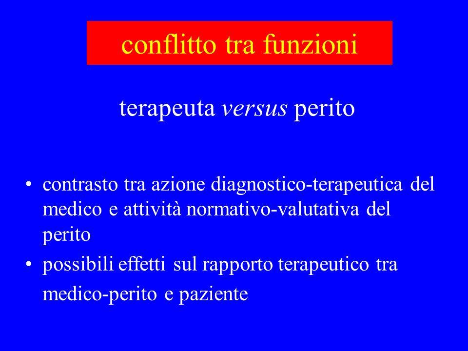 conflitto tra funzioni contrasto tra azione diagnostico-terapeutica del medico e attività normativo-valutativa del perito possibili effetti sul rappor