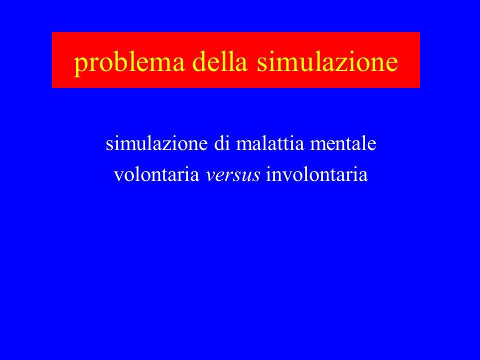 problema della simulazione simulazione di malattia mentale volontaria versus involontaria