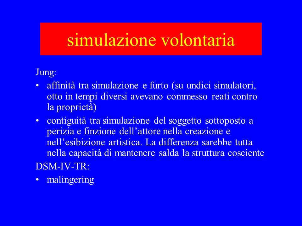 simulazione volontaria Jung: affinità tra simulazione e furto (su undici simulatori, otto in tempi diversi avevano commesso reati contro la proprietà)