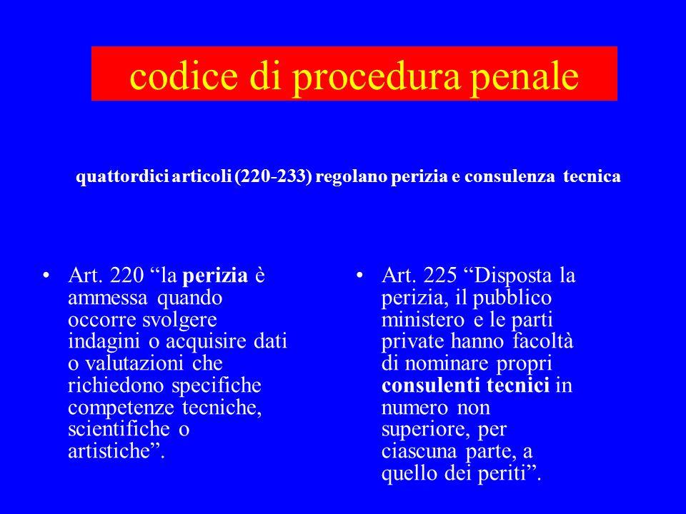 codice di procedura penale Art. 220 la perizia è ammessa quando occorre svolgere indagini o acquisire dati o valutazioni che richiedono specifiche com