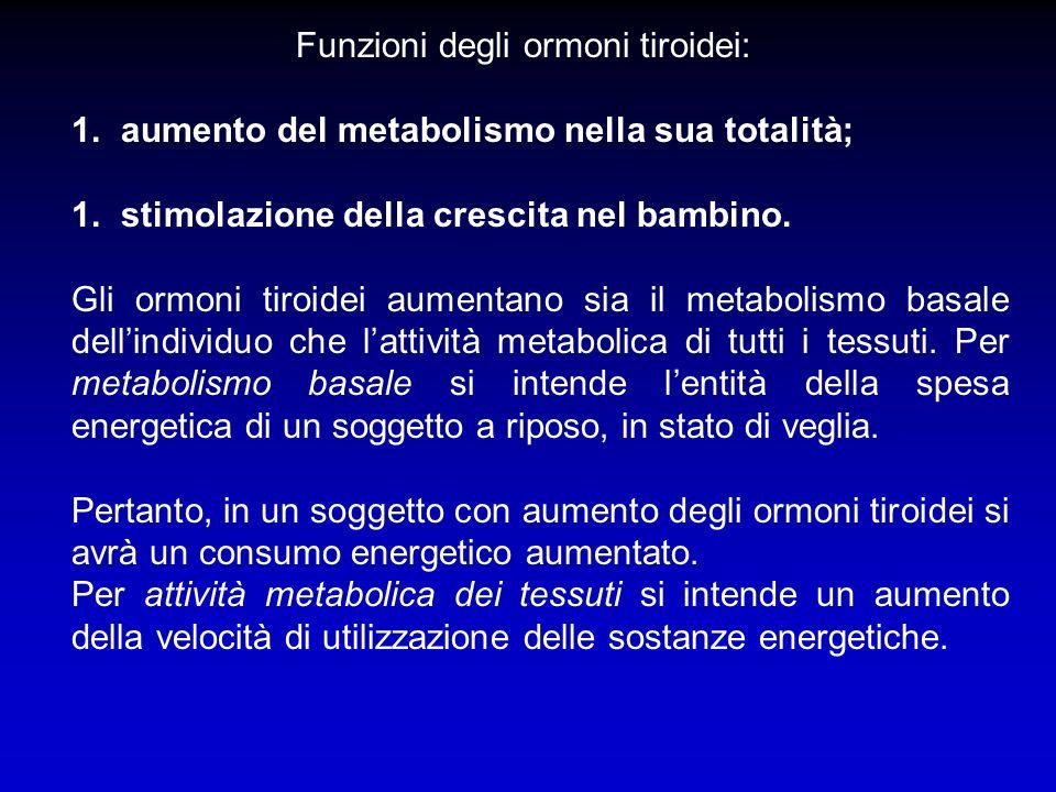Funzioni degli ormoni tiroidei: 1. aumento del metabolismo nella sua totalità; 1. stimolazione della crescita nel bambino. Gli ormoni tiroidei aumenta