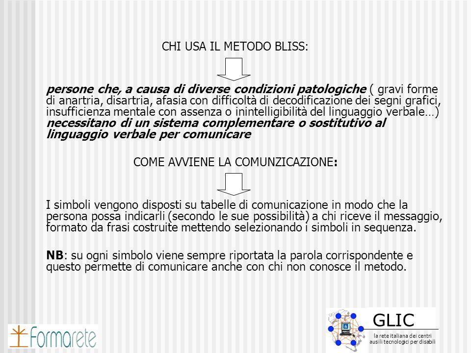 GLIC la rete italiana dei centri ausili tecnologici per disabili GLIC la rete italiana dei centri ausili tecnologici per disabili CHI USA IL METODO BL