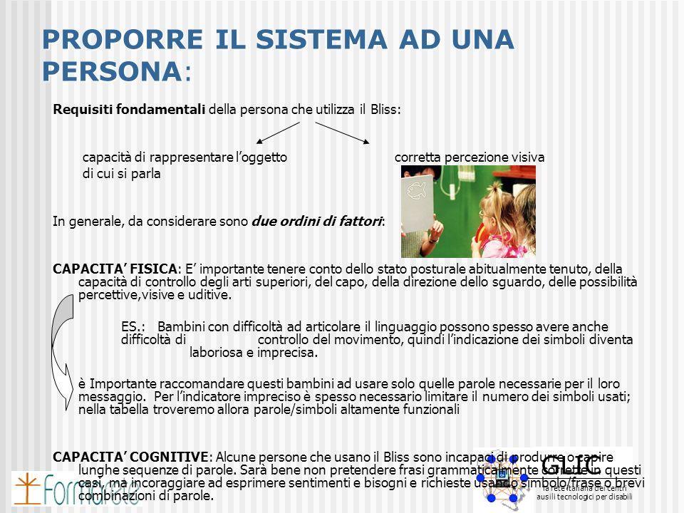 GLIC la rete italiana dei centri ausili tecnologici per disabili GLIC la rete italiana dei centri ausili tecnologici per disabili PROPORRE IL SISTEMA