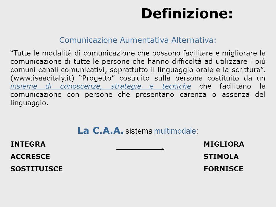 Definizione: Comunicazione Aumentativa Alternativa: Tutte le modalità di comunicazione che possono facilitare e migliorare la comunicazione di tutte l