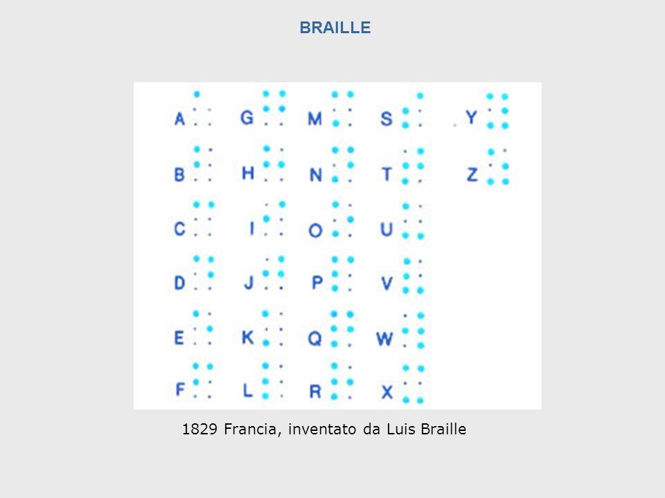 BRAILLE 1829 Francia, inventato da Luis Braille