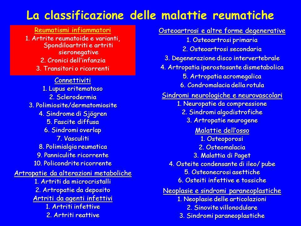 La classificazione delle malattie reumatiche Reumatismi infiammatori 1. Artrite reumatoide e varianti, Spondiloartriti e artriti sieronegative 2. Cron