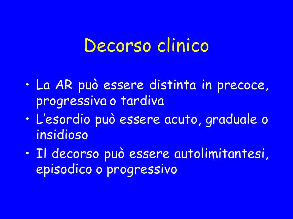 Decorso clinico La AR può essere distinta in precoce, progressiva o tardiva Lesordio può essere acuto, graduale o insidioso Il decorso può essere auto
