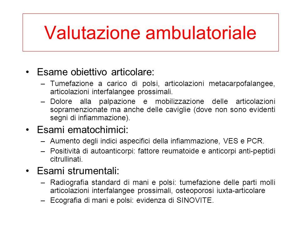Valutazione ambulatoriale Esame obiettivo articolare: –Tumefazione a carico di polsi, articolazioni metacarpofalangee, articolazioni interfalangee pro