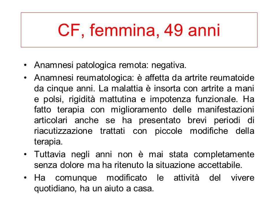 CF, femmina, 49 anni Anamnesi patologica remota: negativa. Anamnesi reumatologica: è affetta da artrite reumatoide da cinque anni. La malattia è insor