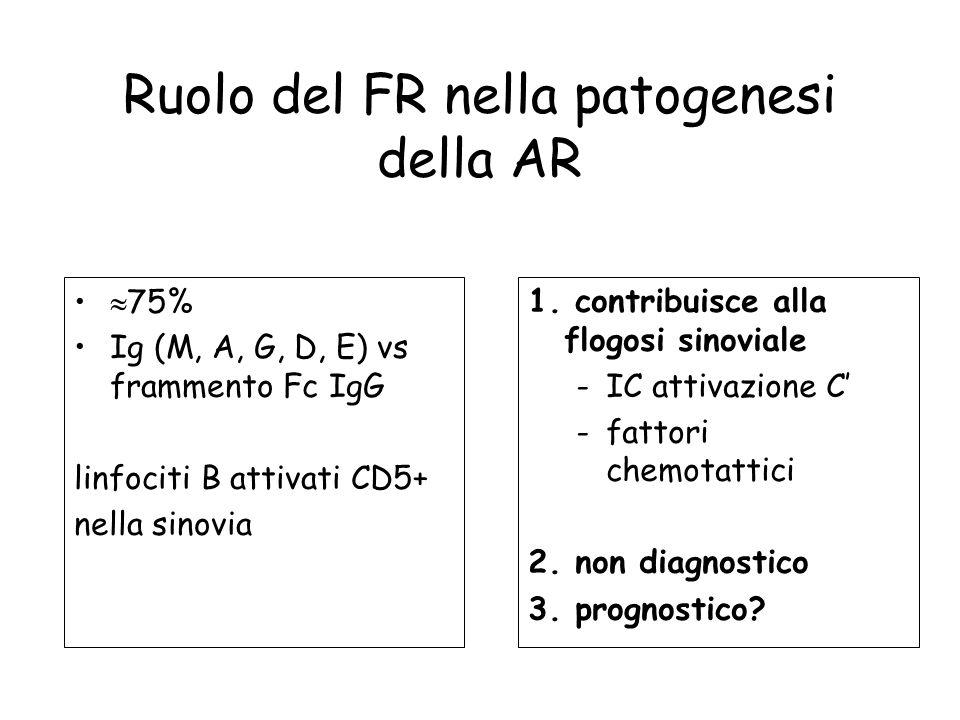Ruolo del FR nella patogenesi della AR 75% Ig (M, A, G, D, E) vs frammento Fc IgG linfociti B attivati CD5+ nella sinovia 1. contribuisce alla flogosi