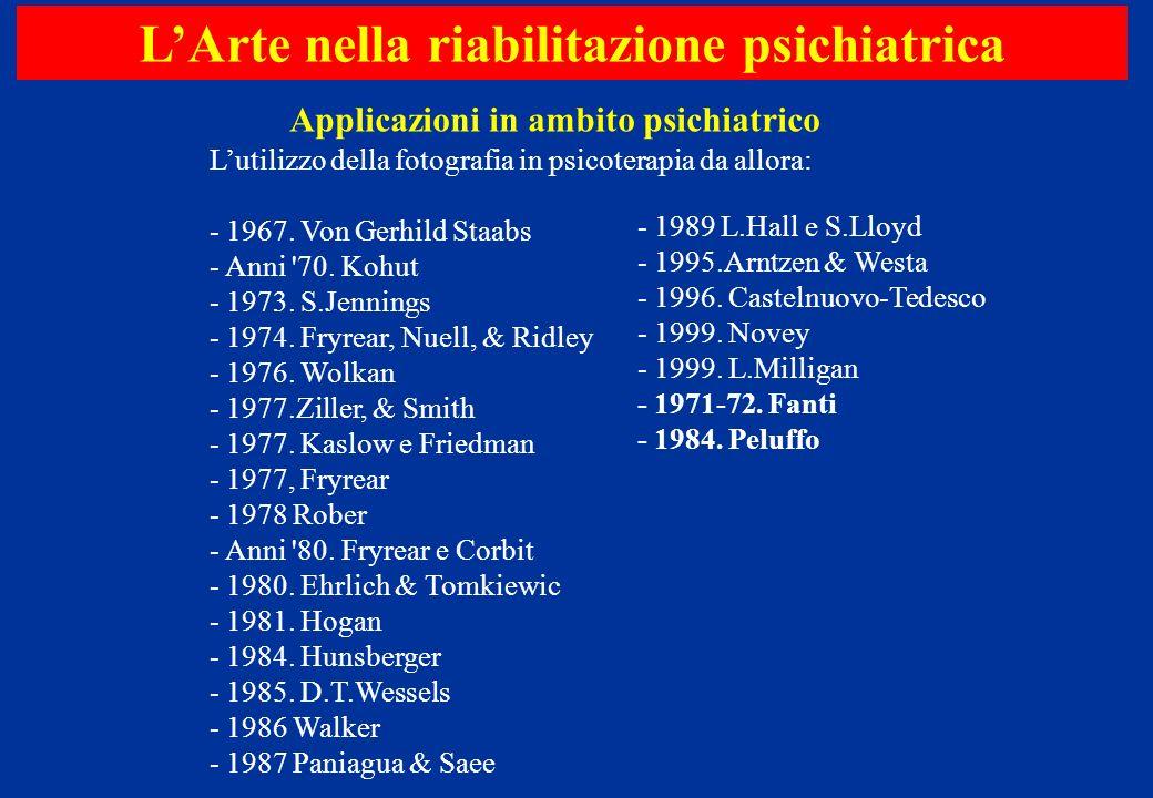 Lutilizzo della fotografia in psicoterapia da allora: - 1967. Von Gerhild Staabs - Anni '70. Kohut - 1973. S.Jennings - 1974. Fryrear, Nuell, & Ridley