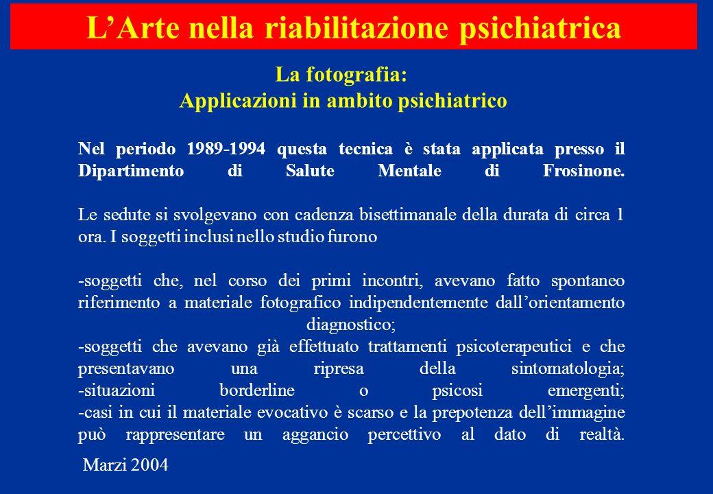 Nel periodo 1989-1994 questa tecnica è stata applicata presso il Dipartimento di Salute Mentale di Frosinone. Le sedute si svolgevano con cadenza bise