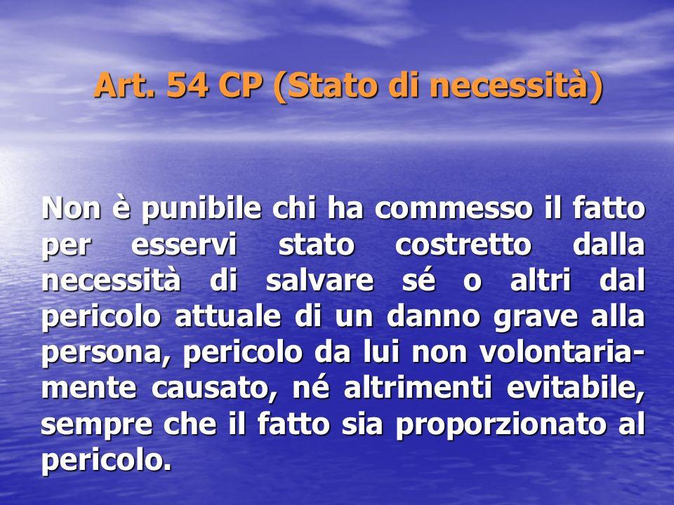 Art. 54 CP (Stato di necessità) Non è punibile chi ha commesso il fatto per esservi stato costretto dalla necessità di salvare sé o altri dal pericolo