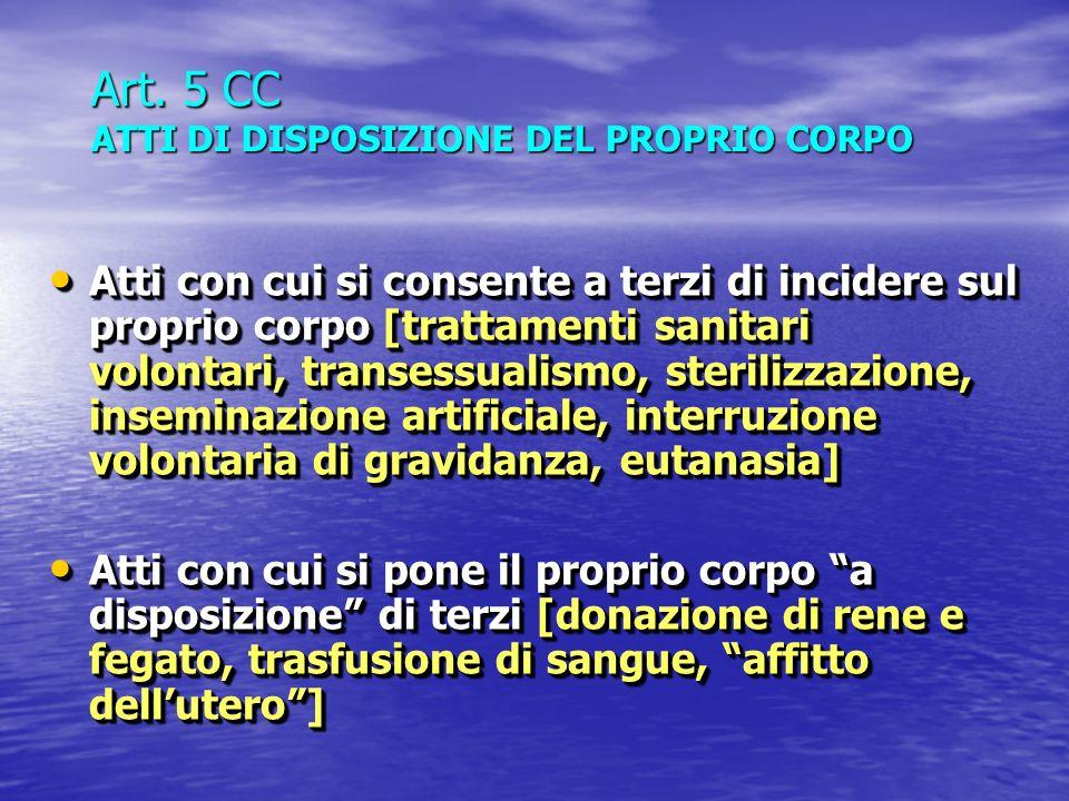 Art. 5 CC ATTI DI DISPOSIZIONE DEL PROPRIO CORPO Atti con cui si consente a terzi di incidere sul proprio corpo [trattamenti sanitari volontari, trans