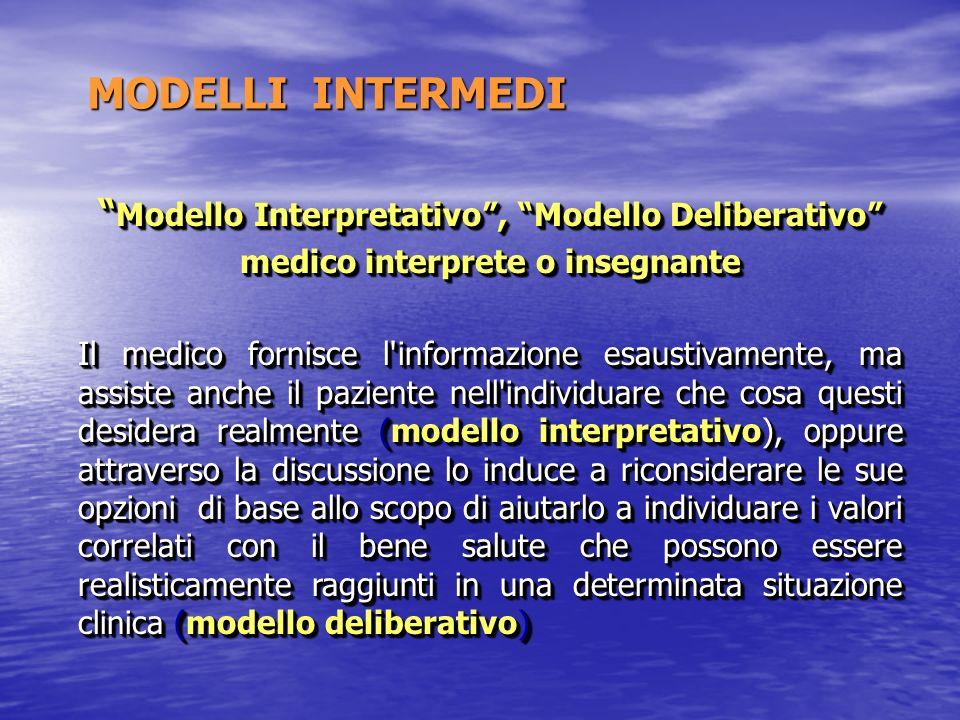 MODELLI INTERMEDI MODELLI INTERMEDI Modello Interpretativo, Modello Deliberativo Modello Interpretativo, Modello Deliberativo medico interprete o inse