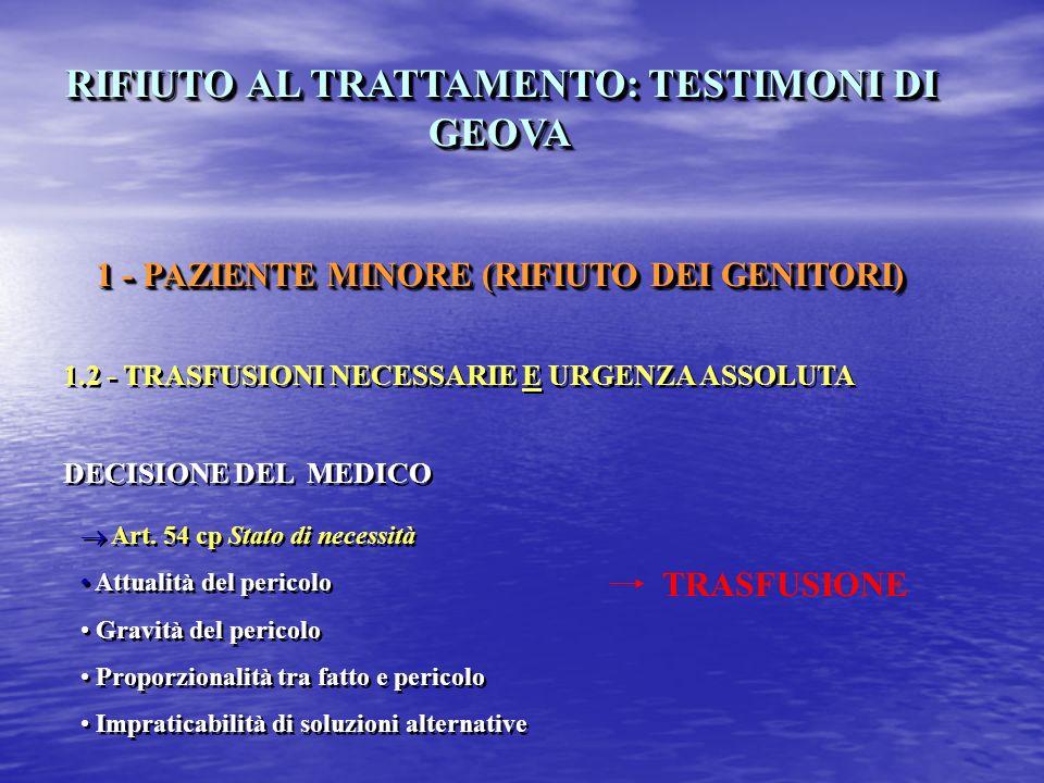 RIFIUTO AL TRATTAMENTO: TESTIMONI DI GEOVA 1 - PAZIENTE MINORE (RIFIUTO DEI GENITORI) 1.2 - TRASFUSIONI NECESSARIE E URGENZA ASSOLUTA DECISIONE DEL MEDICO RIFIUTO AL TRATTAMENTO: TESTIMONI DI GEOVA 1 - PAZIENTE MINORE (RIFIUTO DEI GENITORI) 1.2 - TRASFUSIONI NECESSARIE E URGENZA ASSOLUTA DECISIONE DEL MEDICO TRASFUSIONE Art.