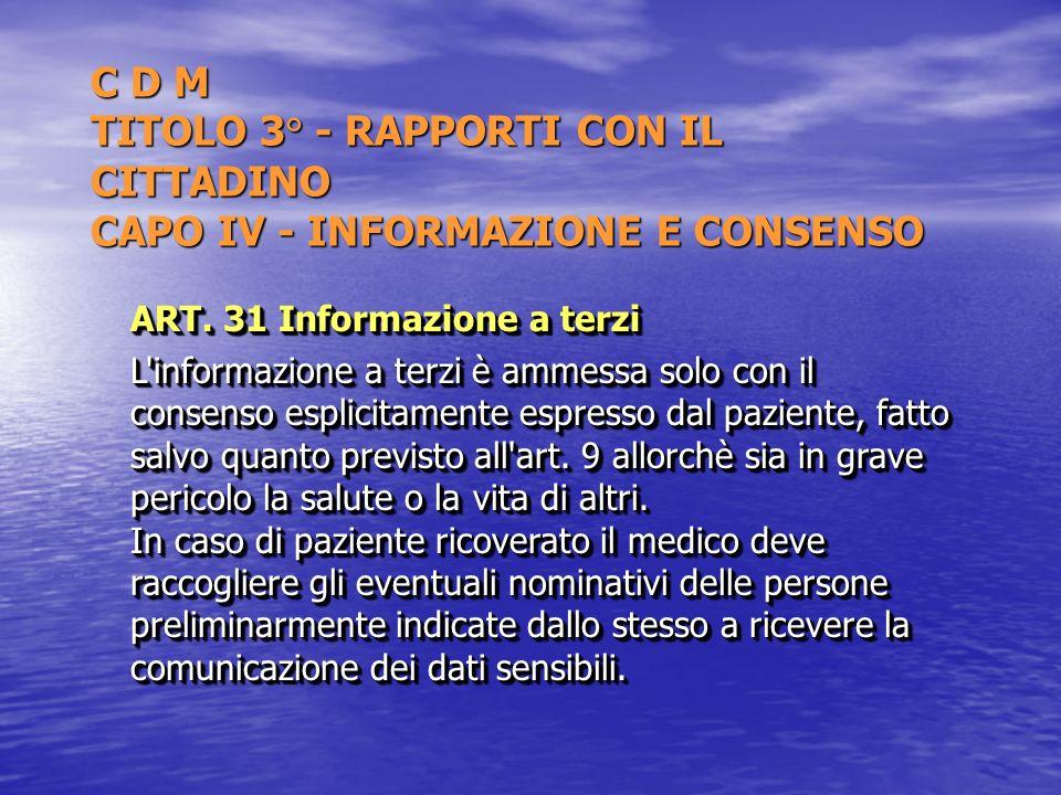C D M TITOLO 3° - RAPPORTI CON IL CITTADINO CAPO IV - INFORMAZIONE E CONSENSO ART. 31 Informazione a terzi L'informazione a terzi è ammessa solo con i
