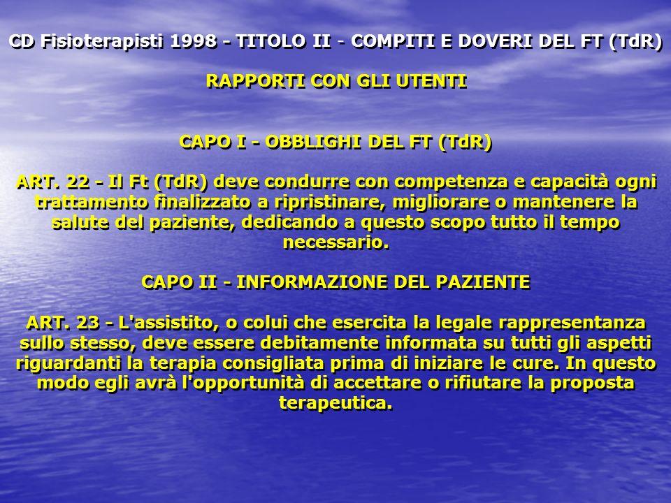 CD Fisioterapisti 1998 - TITOLO II - COMPITI E DOVERI DEL FT (TdR) RAPPORTI CON GLI UTENTI CAPO I - OBBLIGHI DEL FT (TdR) ART. 22 - Il Ft (TdR) deve c