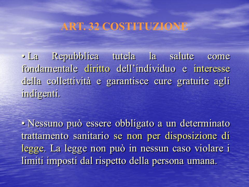 ART. 32 COSTITUZIONE La Repubblica tutela la salute come fondamentale diritto dellindividuo e interesse della collettività e garantisce cure gratuite