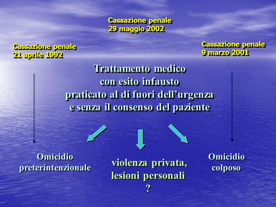 Trattamento medico con esito infausto praticato al di fuori dellurgenza e senza il consenso del paziente Trattamento medico con esito infausto pratica