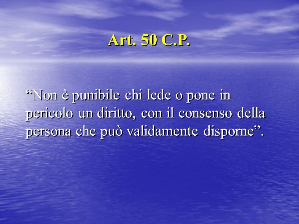 Non è punibile chi lede o pone in pericolo un diritto, con il consenso della persona che può validamente disporne. Art. 50 C.P.