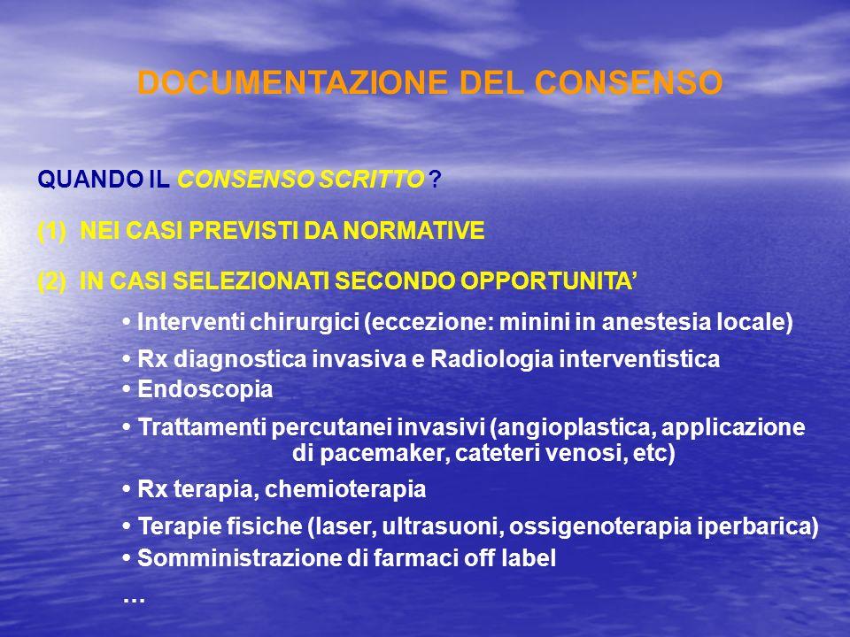 QUANDO IL CONSENSO SCRITTO ? (1)NEI CASI PREVISTI DA NORMATIVE (2)IN CASI SELEZIONATI SECONDO OPPORTUNITA Interventi chirurgici (eccezione: minini in
