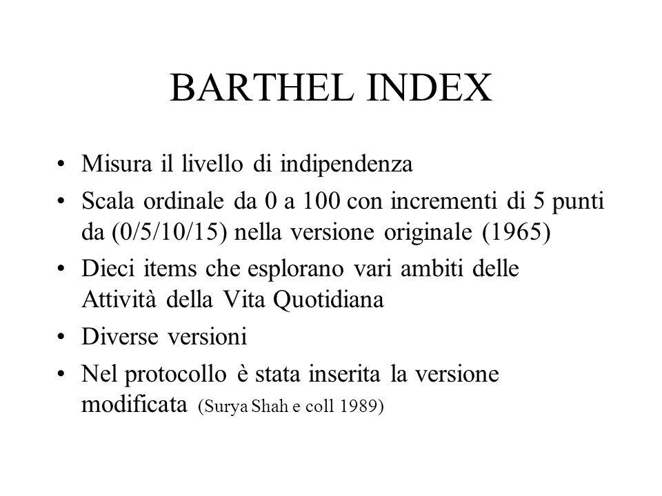 BARTHEL INDEX Misura il livello di indipendenza Scala ordinale da 0 a 100 con incrementi di 5 punti da (0/5/10/15) nella versione originale (1965) Dieci items che esplorano vari ambiti delle Attività della Vita Quotidiana Diverse versioni Nel protocollo è stata inserita la versione modificata (Surya Shah e coll 1989)