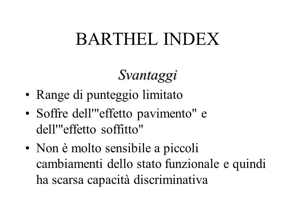 BARTHEL INDEX Svantaggi Range di punteggio limitato Soffre dell effetto pavimento e dell effetto soffitto Non è molto sensibile a piccoli cambiamenti dello stato funzionale e quindi ha scarsa capacità discriminativa