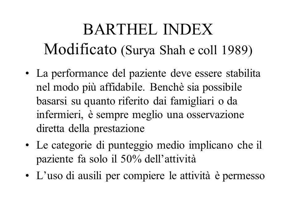 BARTHEL INDEX Modificato (Surya Shah e coll 1989) La performance del paziente deve essere stabilita nel modo più affidabile.