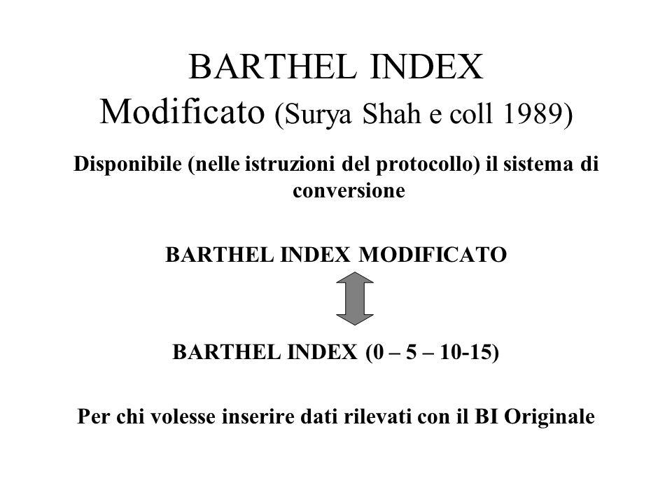 BARTHEL INDEX Modificato (Surya Shah e coll 1989) Disponibile (nelle istruzioni del protocollo) il sistema di conversione BARTHEL INDEX MODIFICATO BARTHEL INDEX (0 – 5 – 10-15) Per chi volesse inserire dati rilevati con il BI Originale
