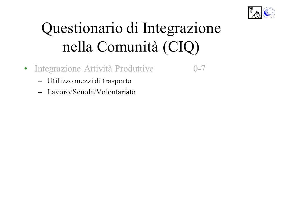 Questionario di Integrazione nella Comunità (CIQ) Integrazione Attività Produttive0-7 –Utilizzo mezzi di trasporto –Lavoro/Scuola/Volontariato