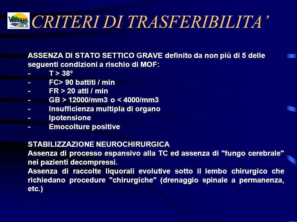 CRITERI DI TRASFERIBILITA ASSENZA DI STATO SETTICO GRAVE definito da non più di 5 delle seguenti condizioni a rischio di MOF: - T > 38° - FC> 90 batti