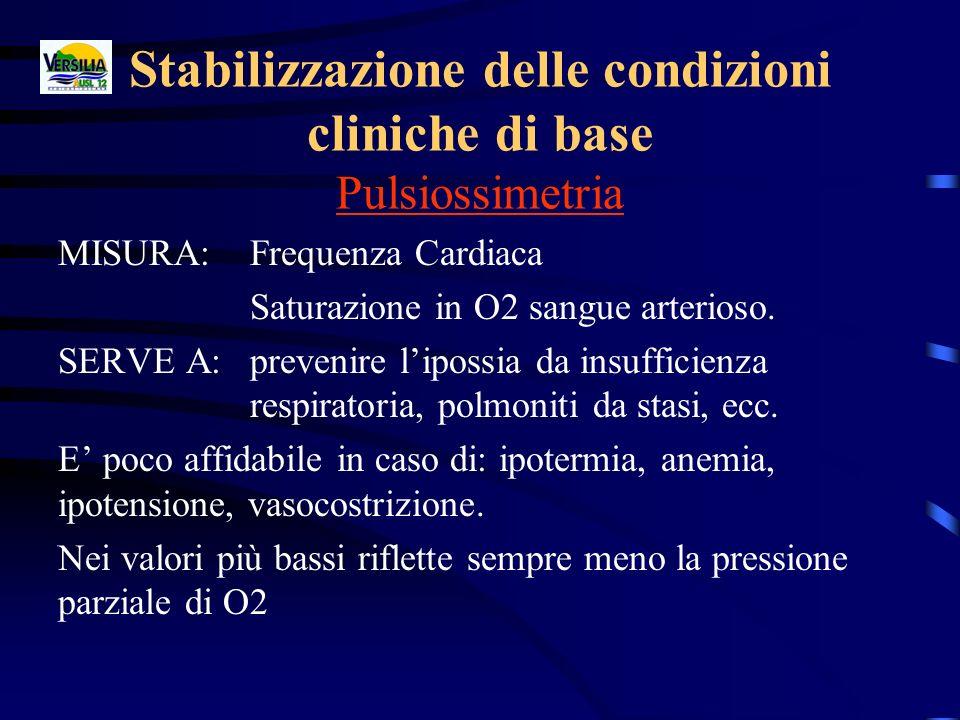 Stabilizzazione delle condizioni cliniche di base Pulsiossimetria MISURA: Frequenza Cardiaca Saturazione in O2 sangue arterioso. SERVE A:prevenire lip