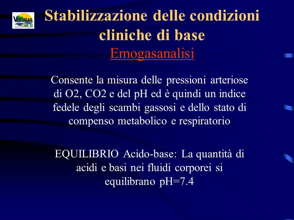 Stabilizzazione delle condizioni cliniche di base Emogasanalisi Consente la misura delle pressioni arteriose di O2, CO2 e del pH ed è quindi un indice