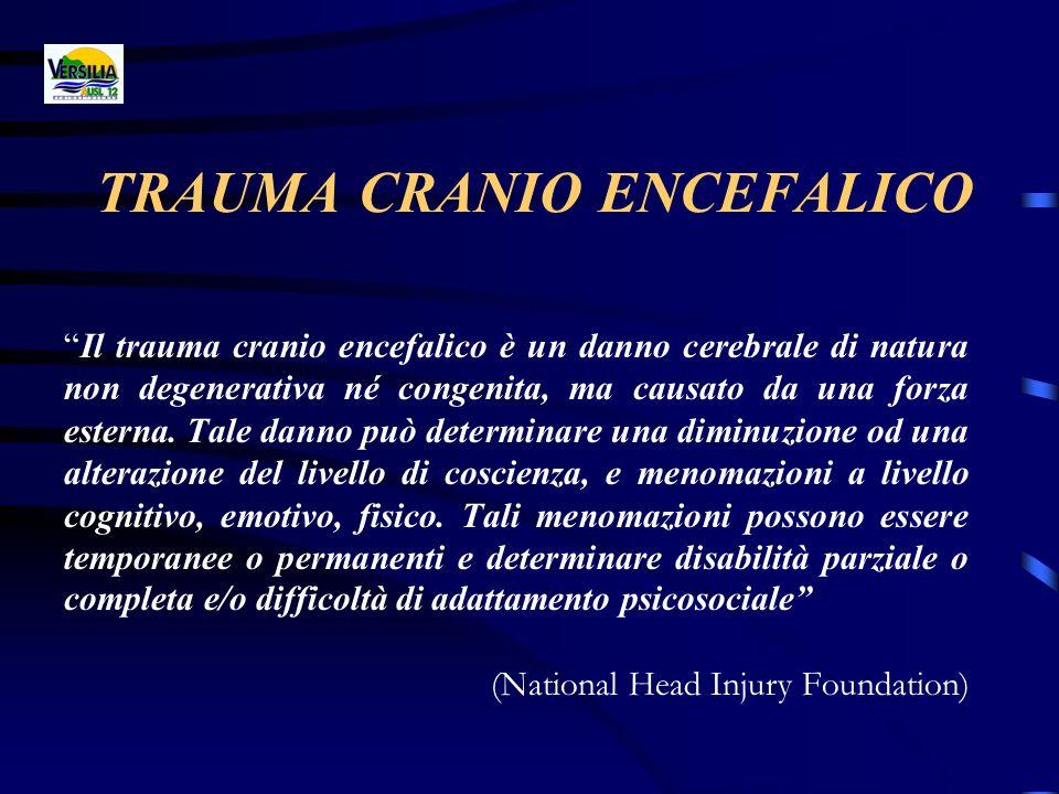 TRAUMA CRANIO ENCEFALICO Il trauma cranio encefalico è un danno cerebrale di natura non degenerativa né congenita, ma causato da una forza esterna. Ta
