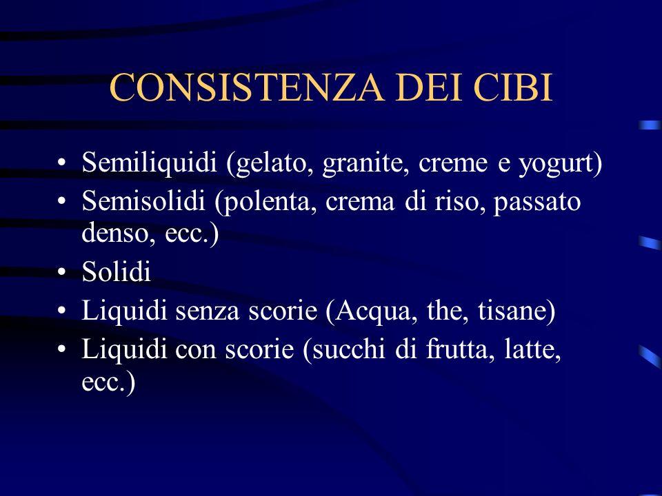 CONSISTENZA DEI CIBI Semiliquidi (gelato, granite, creme e yogurt) Semisolidi (polenta, crema di riso, passato denso, ecc.) Solidi Liquidi senza scori