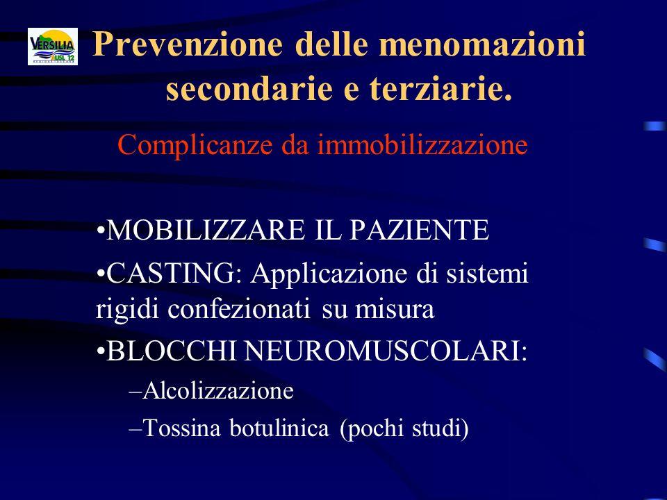 Prevenzione delle menomazioni secondarie e terziarie. Complicanze da immobilizzazione MOBILIZZARE IL PAZIENTE CASTING: Applicazione di sistemi rigidi