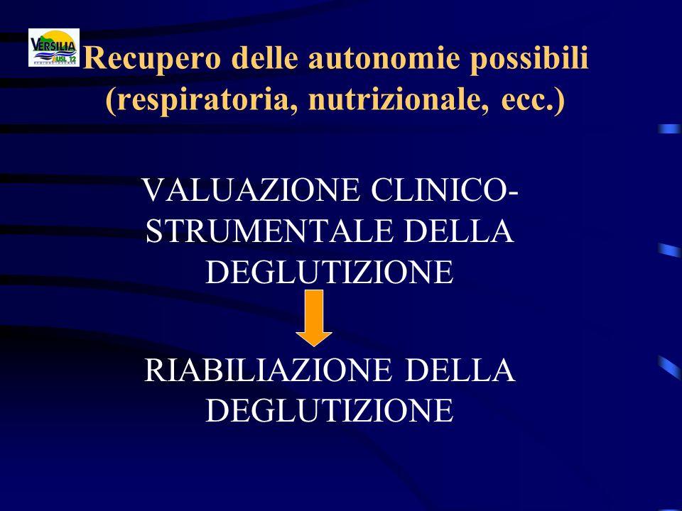 Recupero delle autonomie possibili (respiratoria, nutrizionale, ecc.) VALUAZIONE CLINICO- STRUMENTALE DELLA DEGLUTIZIONE RIABILIAZIONE DELLA DEGLUTIZI