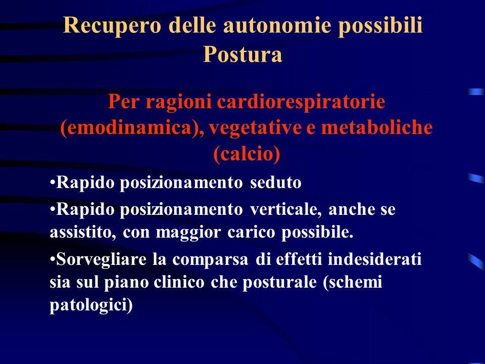 Recupero delle autonomie possibili Postura Per ragioni cardiorespiratorie (emodinamica), vegetative e metaboliche (calcio) Rapido posizionamento sedut