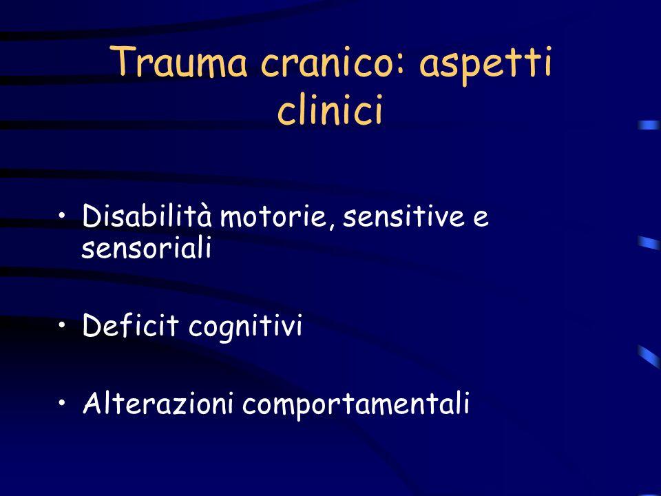 Trauma cranico: aspetti clinici Disabilità motorie, sensitive e sensoriali Deficit cognitivi Alterazioni comportamentali