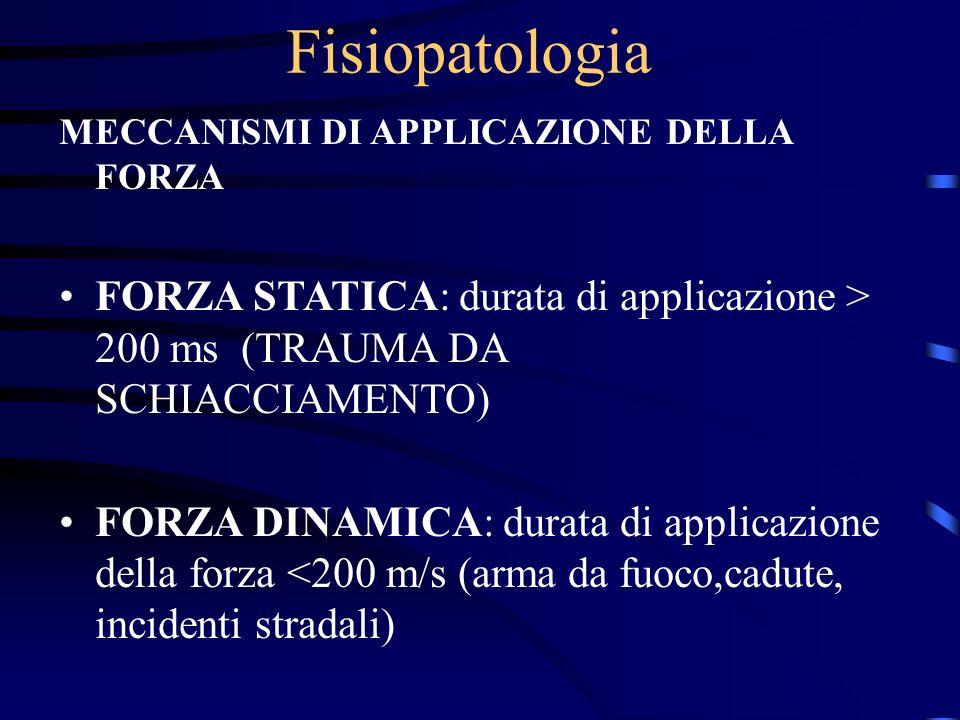 Fisiopatologia MECCANISMI DI APPLICAZIONE DELLA FORZA FORZA STATICA: durata di applicazione > 200 ms (TRAUMA DA SCHIACCIAMENTO) FORZA DINAMICA: durata