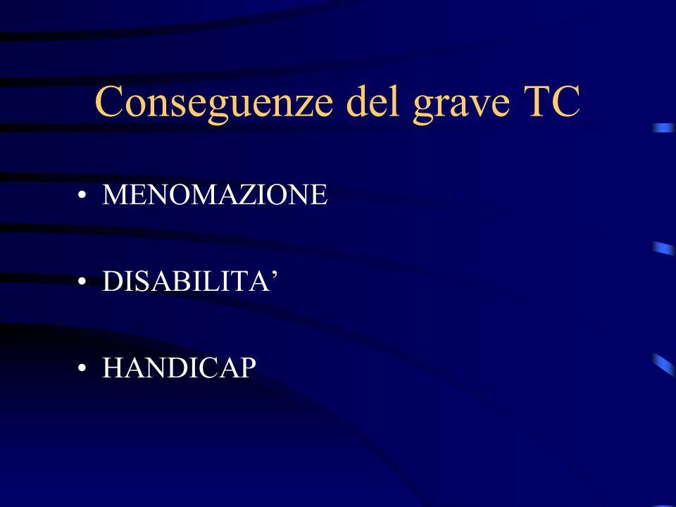 Conseguenze del grave TC MENOMAZIONE DISABILITA HANDICAP