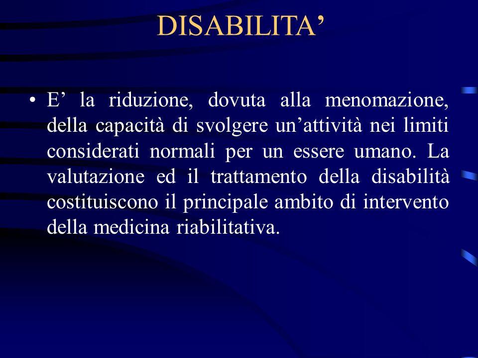 DISABILITA E la riduzione, dovuta alla menomazione, della capacità di svolgere unattività nei limiti considerati normali per un essere umano. La valut