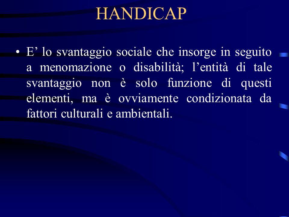 HANDICAP E lo svantaggio sociale che insorge in seguito a menomazione o disabilità; lentità di tale svantaggio non è solo funzione di questi elementi,