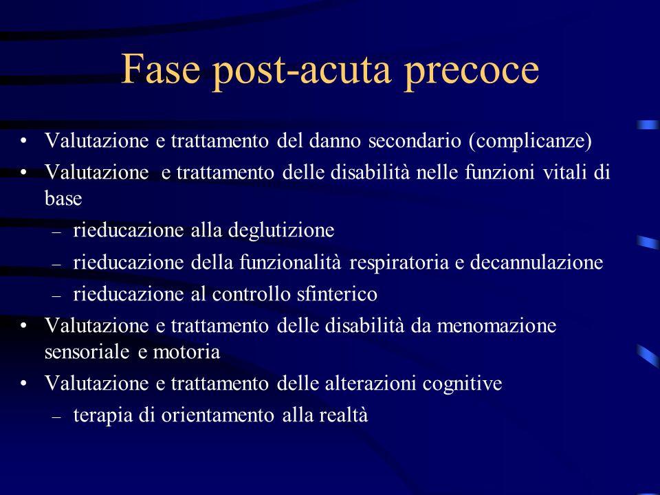 Fase post-acuta precoce Valutazione e trattamento del danno secondario (complicanze) Valutazione e trattamento delle disabilità nelle funzioni vitali