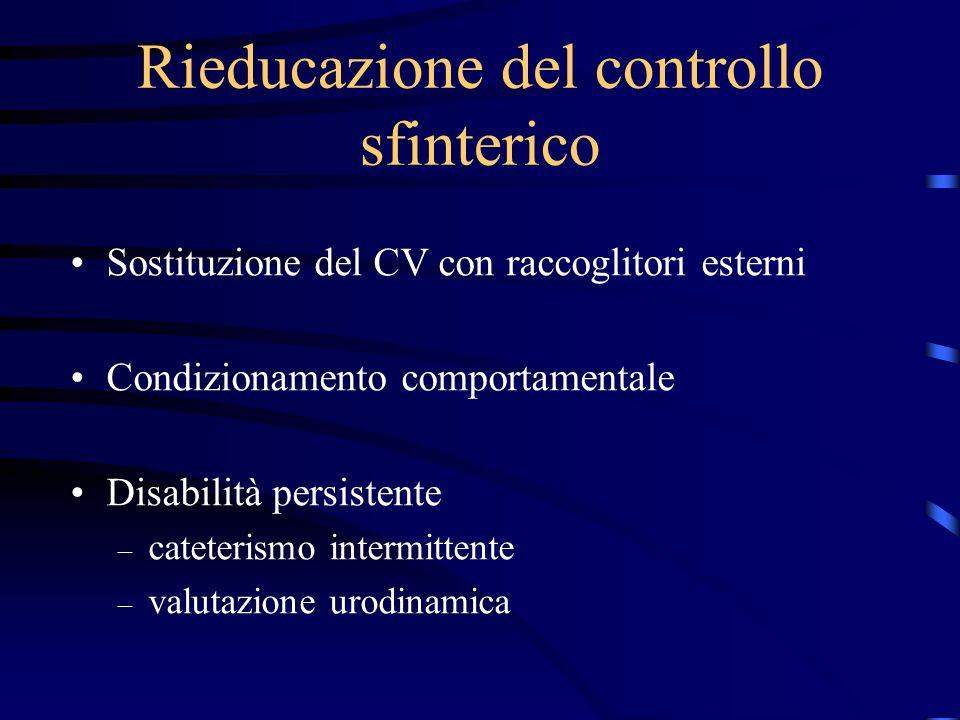 Rieducazione del controllo sfinterico Sostituzione del CV con raccoglitori esterni Condizionamento comportamentale Disabilità persistente – cateterism