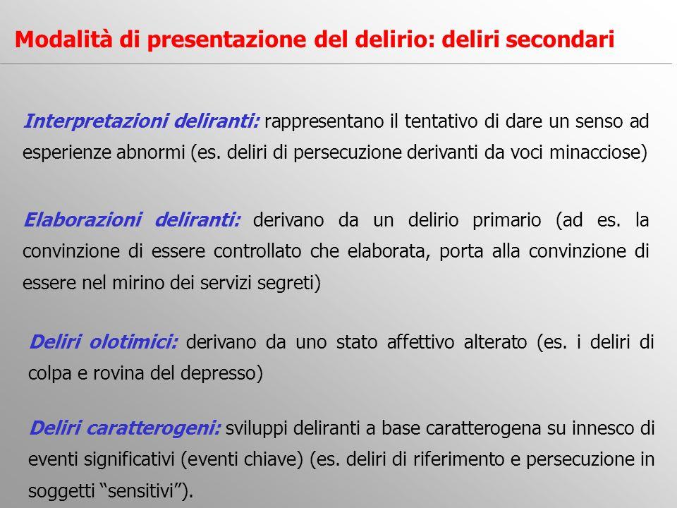 Interpretazioni deliranti: rappresentano il tentativo di dare un senso ad esperienze abnormi (es. deliri di persecuzione derivanti da voci minacciose)