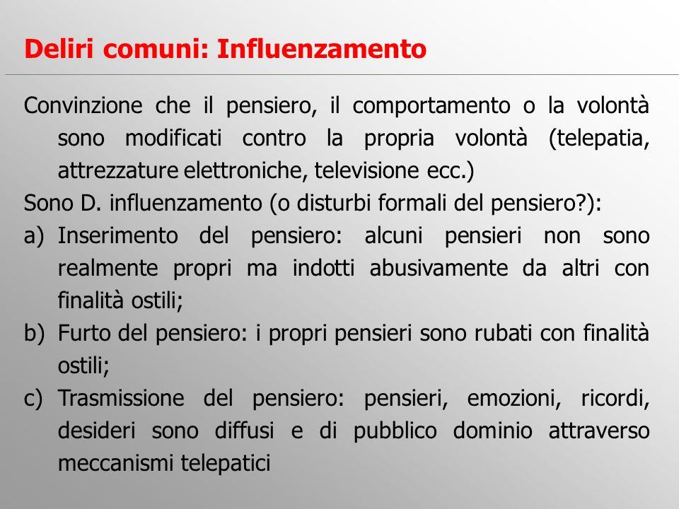 Convinzione che il pensiero, il comportamento o la volontà sono modificati contro la propria volontà (telepatia, attrezzature elettroniche, television
